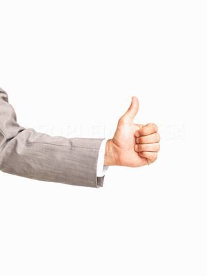 Buy stock photo Business man's hand with a thumbs up on white background