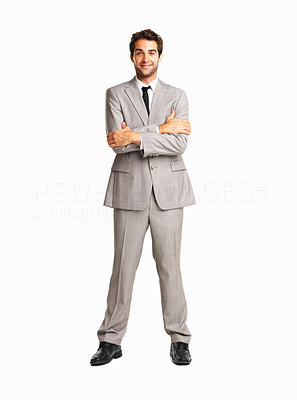 Buy stock photo Happy business man with arms crossed on white background