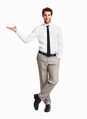 Buy stock photo Sales man presenting new product on white background