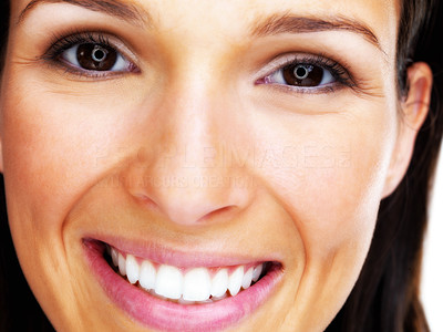 Buy stock photo Closeup portrait of a pretty happy young woman smiling
