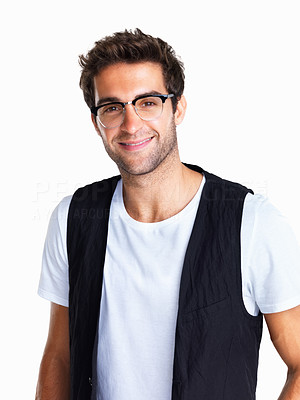 Buy stock photo Casually dressed handsome man with glasses smiling