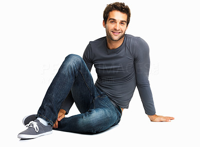 Buy stock photo Charming man sitting in relaxed pose