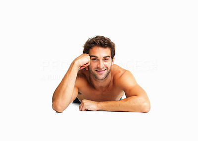 Buy stock photo Sexy shirtless man lying down