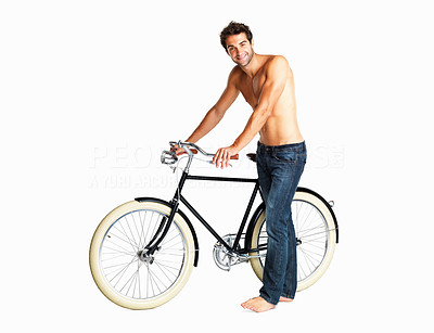 Buy stock photo Shirtless man showing his retro bike