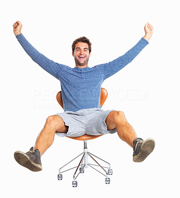 Buy stock photo Handsome man kicking out legs and throwing up arms in excitement