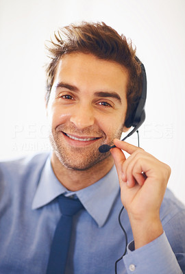Buy stock photo Closeup portrait of smiling customer support operator with headset