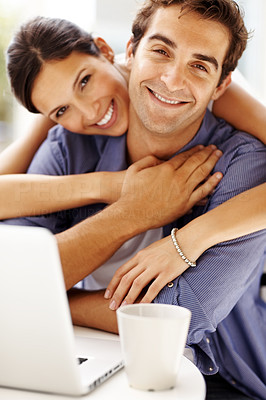 Buy stock photo Portrait of romantic young love couple with a laptop smiling