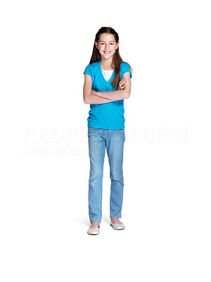 Buy stock photo Full length portrait of a sweet small girl standing with folded hands over white background