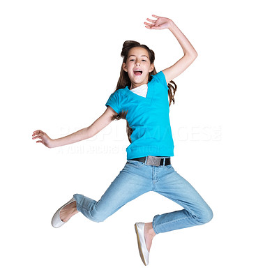 Buy stock photo Portrait of a joyful small girl jumping against white background
