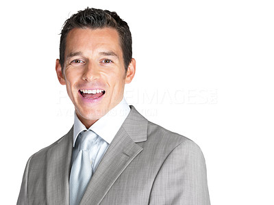 Buy stock photo Portrait of an excited young business man screaming against white background