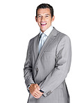Happy young male business executive laughing