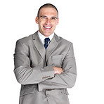Handsome young business man standing with folded hand