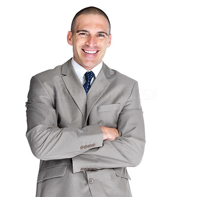 Buy stock photo Portrait of a handsome young business man standing with folded hand against white background