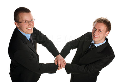 Buy stock photo Two businessmen shaking hands.