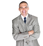 Handsome young male entrepreneur standing with folded hand