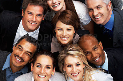 Buy stock photo Closeup of group of executives smiling