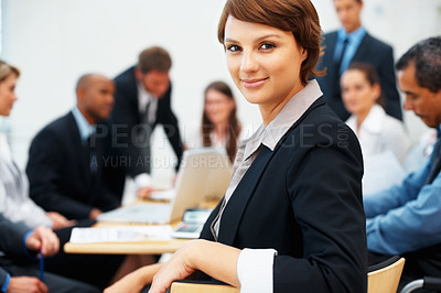 Buy stock photo Beautiful young business woman during meeting
