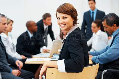 Buy stock photo Portrait of young business woman smiling during meeting