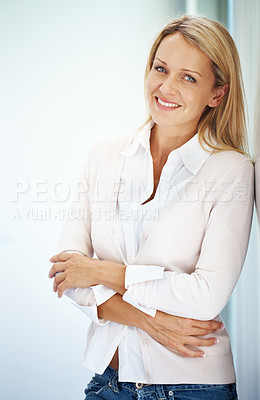 Buy stock photo Portrait of a beautiful young female standing and looking at you