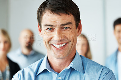 Buy stock photo Portrait happy young casual businessman with his business colleagues - Team