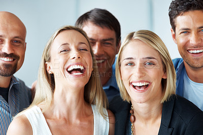 Buy stock photo Portrait of group of friendly business colleagues smiling together