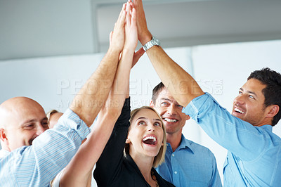 Buy stock photo Portrait of excited business team celebrating success with high five