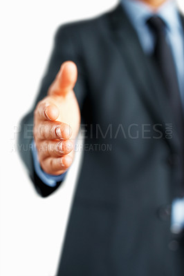 Buy stock photo Professional man extending hand to shake