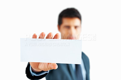 Buy stock photo Closeup of businessman's hand holding up card