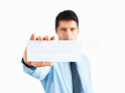 Buy stock photo Closeup of executives hand holding up card