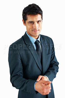 Buy stock photo Businessman standing on white background