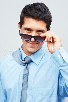 Buy stock photo Businessman with windswept tie and sunglasses