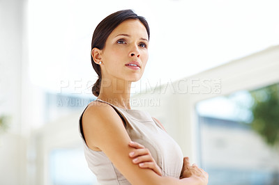 Buy stock photo Portrait of beautiful young woman with her hands folded looking away - Copysapce