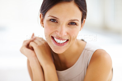 Buy stock photo Closeup portrait of gorgeous young lady smiling confidently