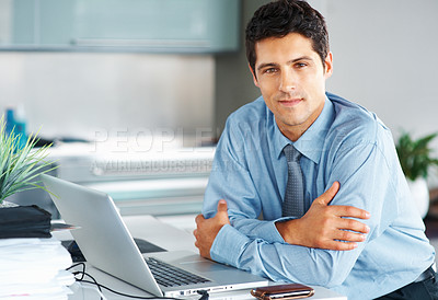 Buy stock photo Happy executive sitting in front of laptop with arms folded