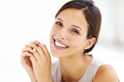 Buy stock photo Closeup portrait of pretty young lady smiling looking at you and smiling