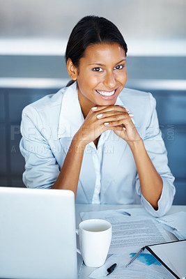 Buy stock photo View of business woman with clasped hands next to laptop