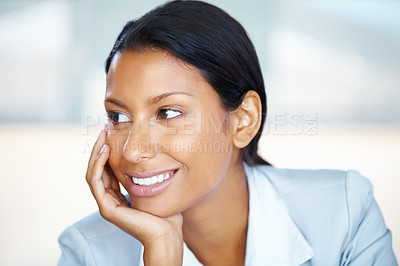 Buy stock photo Closeup of business woman resting chin on hand and looking into distance