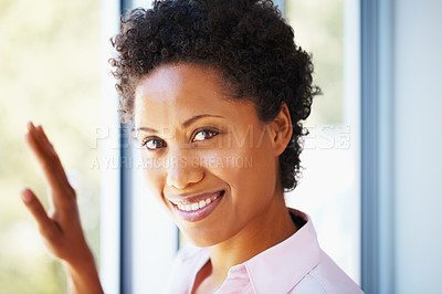 Buy stock photo Closeup of confident business woman giving you cute smile