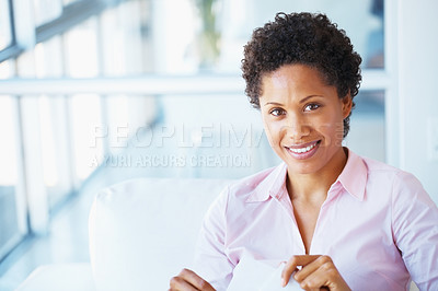 Buy stock photo Closeup of young woman opening business mail