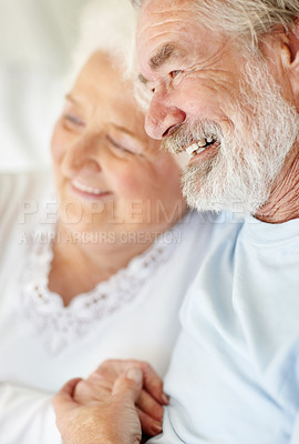 Buy stock photo A happy senior couple enjoying each others' company