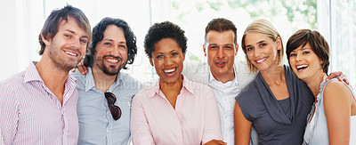 Buy stock photo Successful business people smiling together