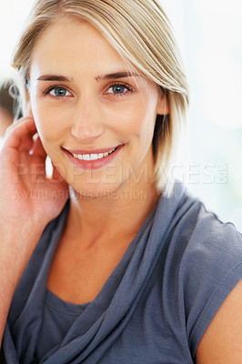 Buy stock photo Closeup of pretty woman with hand on her face