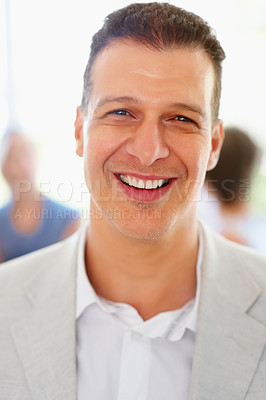 Buy stock photo Closeup of man laughing with people in background