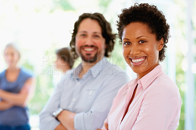 Buy stock photo Focus on woman with rest of group in background