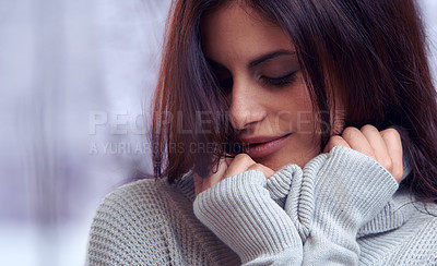 Buy stock photo Cropped shot of an attractive brunette outdoors in winter