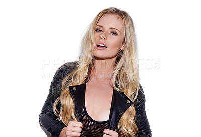 Buy stock photo Cropped portrait of an attractive young woman wearing a leather jacket being flirty