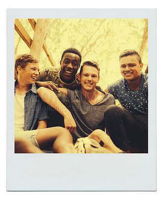 Buy stock photo Framed image of a group of teenage boys hanging out together outside