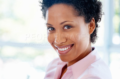 Buy stock photo Closeup of happy woman against window