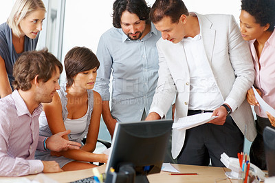 Buy stock photo Business team working together in meeting room