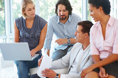 Buy stock photo Leader discussing work with his team